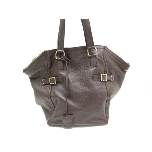 SAC A MAIN YVES SAINT LAURENT DOWNTOWN 172460 CUIR MARRON LEATHER PURSE 1775€