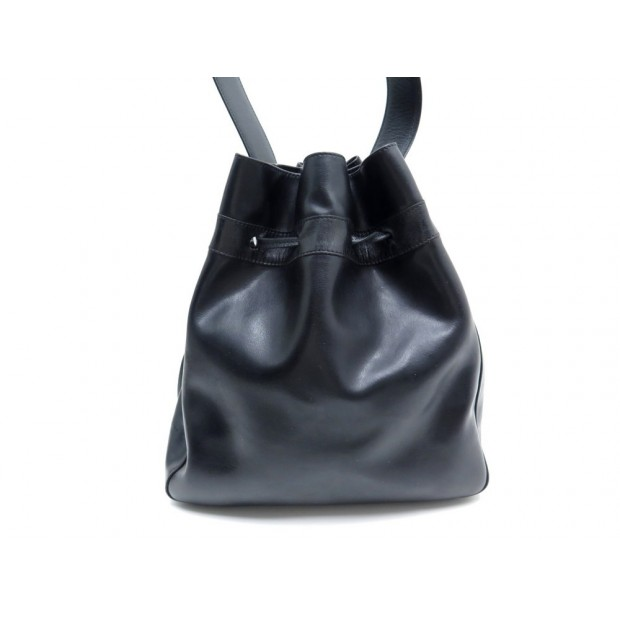 SAC A MAIN LONGCHAMP SEAU PORTE EPAULE EN CUIR NOIR BLACK LEATHER PURSE 590€