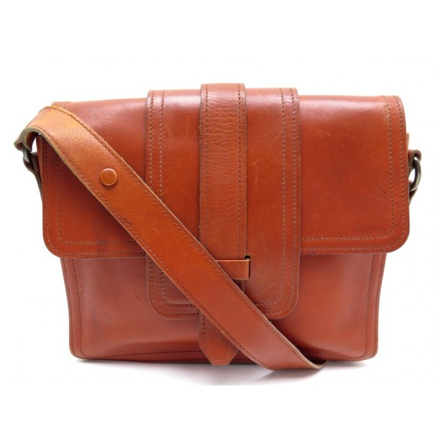 VINTAGE SAC A MAIN YVES LAURENT CUIR ORANGE ROUILLE BANDOULIERE HAND BAG PURSE