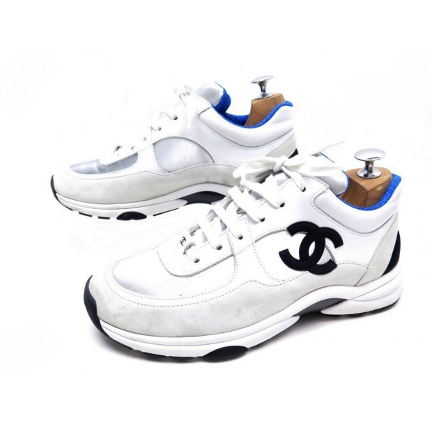 CHAUSSURES BASKETS CHANEL G33743 40 EN CUIR BLANC ET ARGENTE TENNIS SHOES 720€