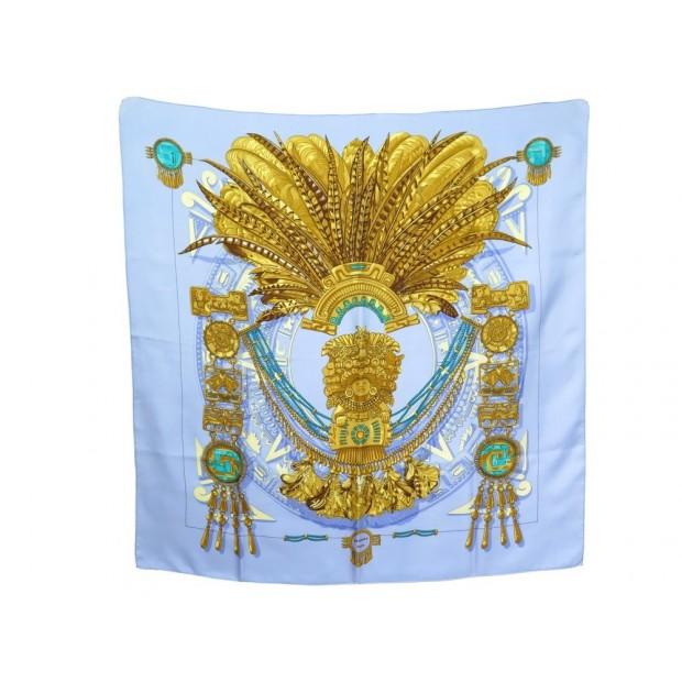 FOULARD HERMES MEXIQUE MAYAS EN SOIE BLEUE CARRE 90 CM SILK SCARF BLUE 360€