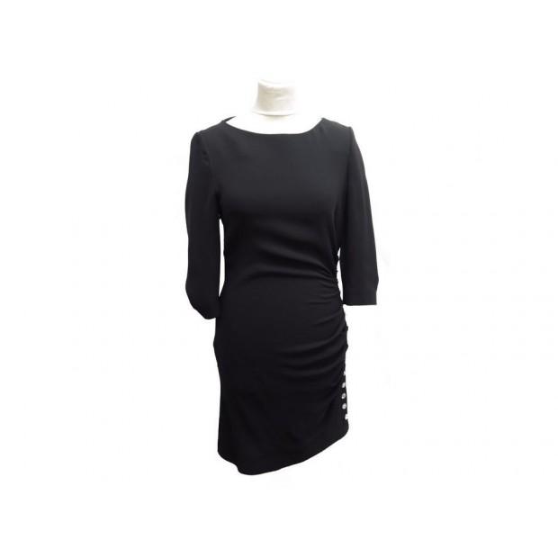 NEUF ROBE AZZARO KITHLEEN BOUTON STRASS T38 M EN SOIE NOIRE BLACK DRESS 950€