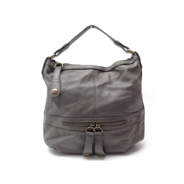 SAC A MAIN GERARD DAREL MIDDAY MIDNIGHT GM HOBO EN CUIR TAUPE GREY HAND BAG 420€