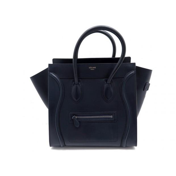 SAC A MAIN CELINE LUGGAGE MICRO EN CUIR BLEU HAND BAG BLUE LEATHER PURSE 2250€