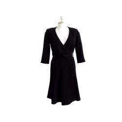 NEUF ROBE PORTEFEUILLE TARA JARMON 15332 T 36 S NOIR CEINTURE WRAP DRESS 245€