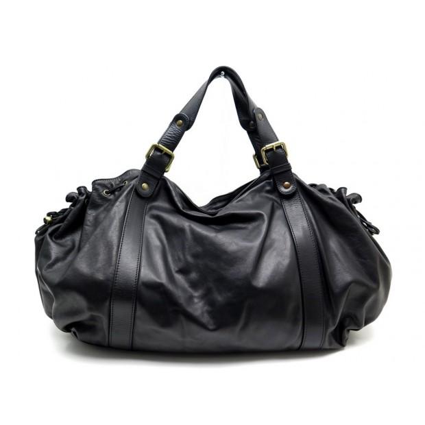 sac a main gerard darel 36h en cuir noir black leather