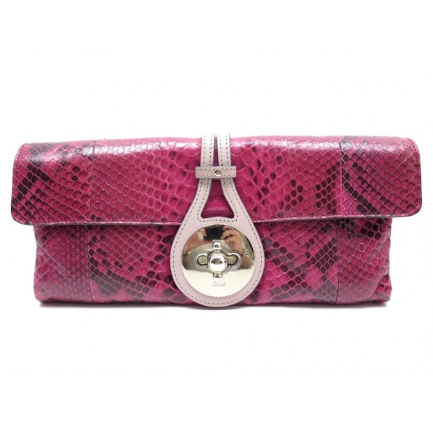 NEUF SAC A MAIN CHLOE POCHETTE EN CUIR DE PYTHON FUSHIA LEATHER CLUTCH BAG 950€