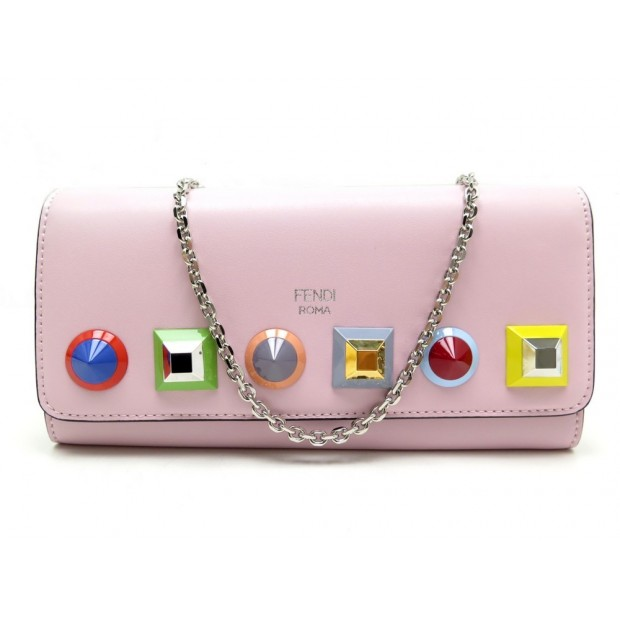 NEUF PORTEFEUILLE FENDI 8M0365 CONTINENTALE BANDOULIERE WALLET ON CHAIN WOC 590€