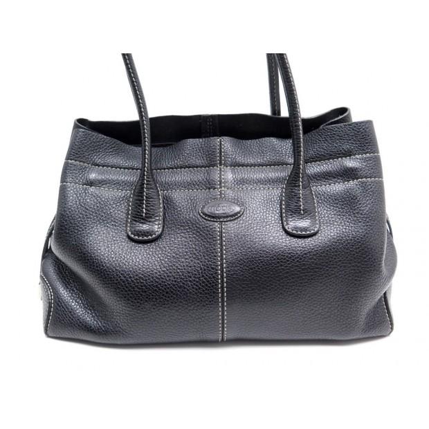 acheter populaire cdbbe e682f sac a main tod's cabas d bag en cuir graine noir tote