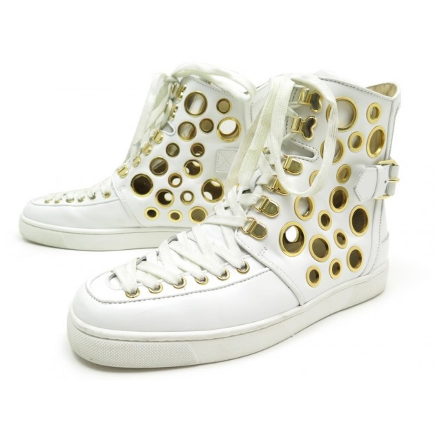 CHAUSSURES CHRISTIAN LOUBOUTIN ALFIBULLY 40.5 BASKETS CUIR BLANC SNEAKERS 1615€