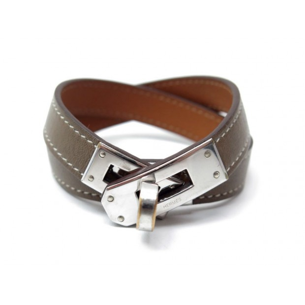 BRACELET HERMES KELLY DOUBLE TOUR T 15.5 EN CUIR SWIFT ETOUPE METAL ARGENTE 450€