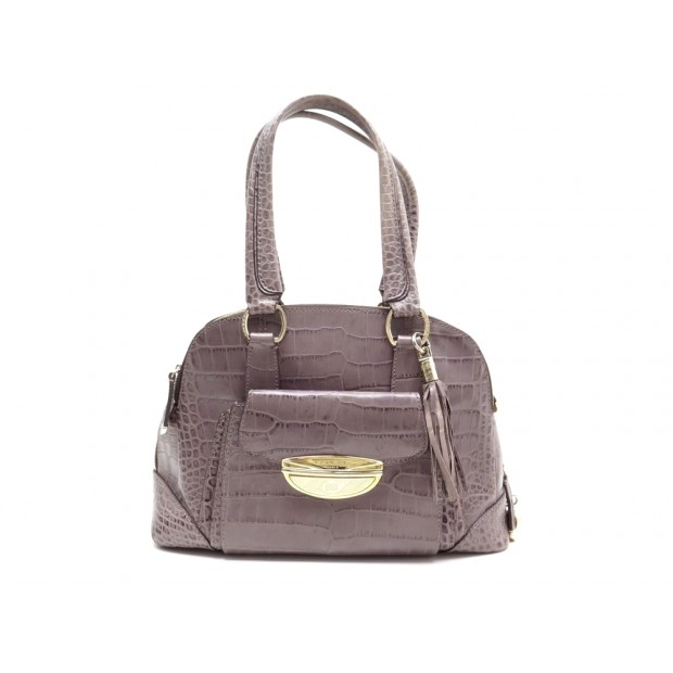 SAC A MAIN LANCEL ADJANI GM A03432 EN CUIR FACON CROCO GRIS TAURE PURSE 1250€