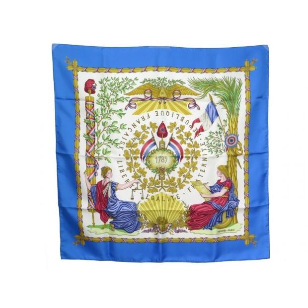 NEUF FOULARD HERMES 1789 LIBERTE EGALITE FRATERNITE SOIE BLEU CARRE 90 CM 360€