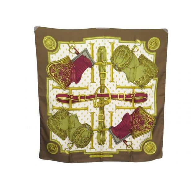 FOULARD HERMES SELLES A HOUSSE 1ERE EDITION 1968 EN SOIE MARRON CARRE SCARF 360€