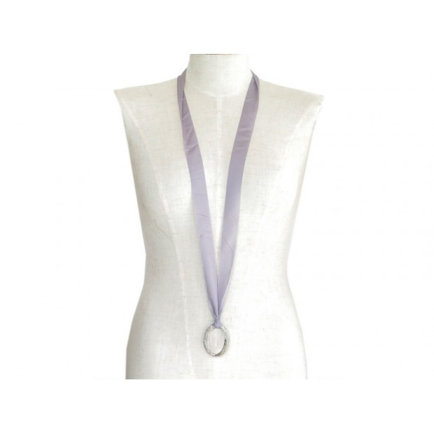 COLLIER CHRISTIAN DIOR SAUTOIR RUBAN 110CM EN METAL ARGENTE NECKLACE RIBBON 490€