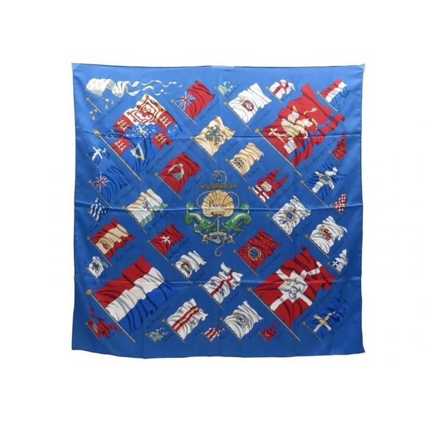 FOULARD HERMES PAVOIS PHILIPPE LEDOUX CARRE SOIE BLEU BOITE BLUE SILK SARF 360€
