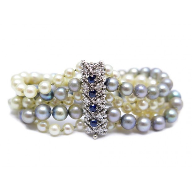 BRACELET EN PERLES DE CULTURE MULTICOLORE FERMOIR OR BLANC DIAMANT SAPHIR