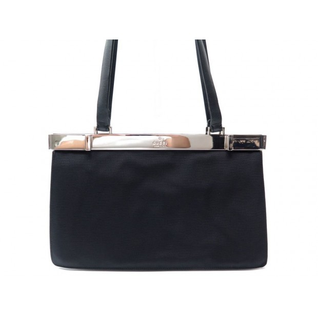 SAC A MAIN GUCCI 001 3218 EN TOILE NOIRE PORTE EPAULE CANVAS HAND BAG PURSE 785€