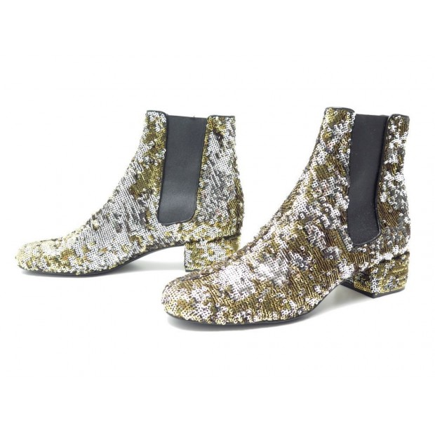 NEUF BOTTINES SAINT LAURENT 40 EN SEQUINS DORES ELASTIQUE ANKLE BOOTS NEW 1250€