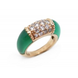BAGUE VAN CLEEF & ARPELS PHILLIPINE T 42 EN OR JAUNE AGATE DIAMANTS 0.34CT RING
