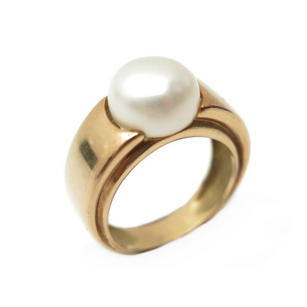 BAGUE TAILLE 51 EN OR JAUNE 18K 7.6 GR SERTIE PERLE BLANCHE GOLD & PEARL RING