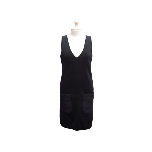 NEUF ROBE CHRISTIAN DIOR POCHES CANNAGE LADY T 40 M EN VISCOSE NOIR DRESS 1500€