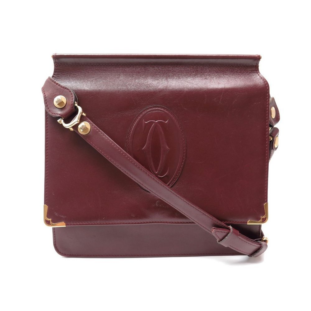 93bc674d95 SAC A MAIN MUST CARTIER BESACE BANDOULIERE CUIR BORDEAUX. Loading zoom