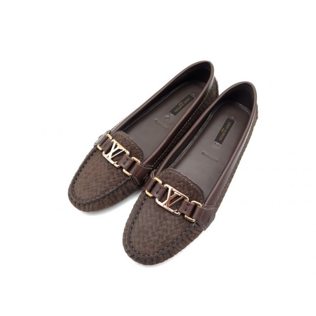 NEUF CHAUSSURES LOUIS VUITTON OXFORD MOCASSINS 38.5 EN DAIM TRESSE LOAFERS 420€