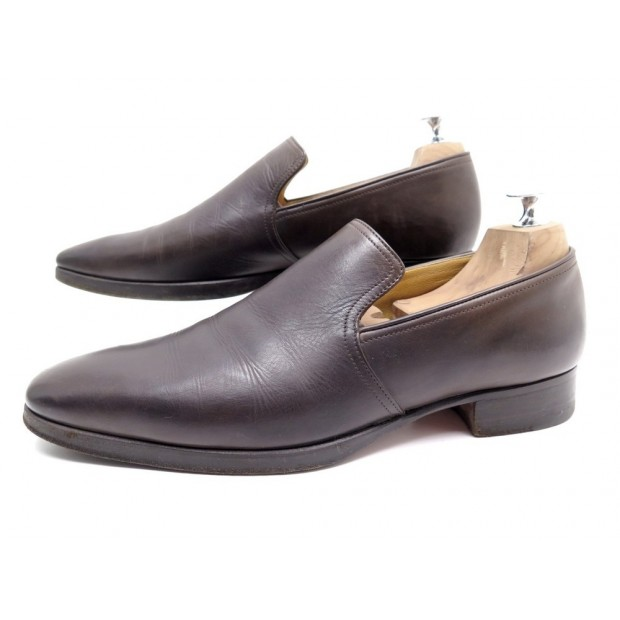 CHAUSSURES HERMES MOCASSINS NATHAN 062169ZH 42 CUIR MARRON CAFE BOITE SHOES 550€
