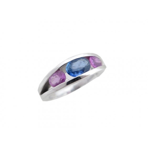 BAGUE EN OR BLANC T 51 SAPHIR BLEU & ROSE 7.4 GR BIJOU + ECRIN WHITE GOLD RING