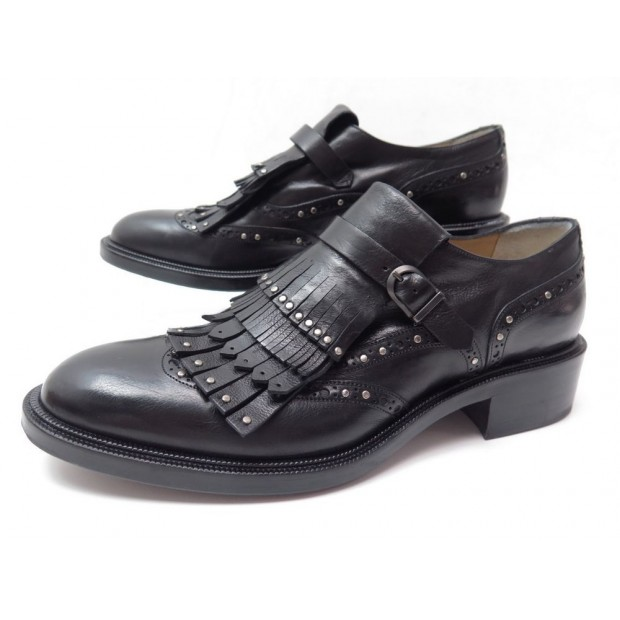 NEUF CHAUSSURES SARTORE 40 IT 40.5 41 FR DERBY CLOUTES A FRANGES NOIR SHOES 500€