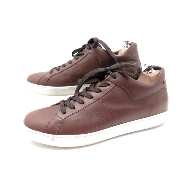 CHAUSSURES TOD'S BASKETS 9.5 IT 44 FR EN CUIR MARRON BROWN LEATHER SNEAKERS 420€