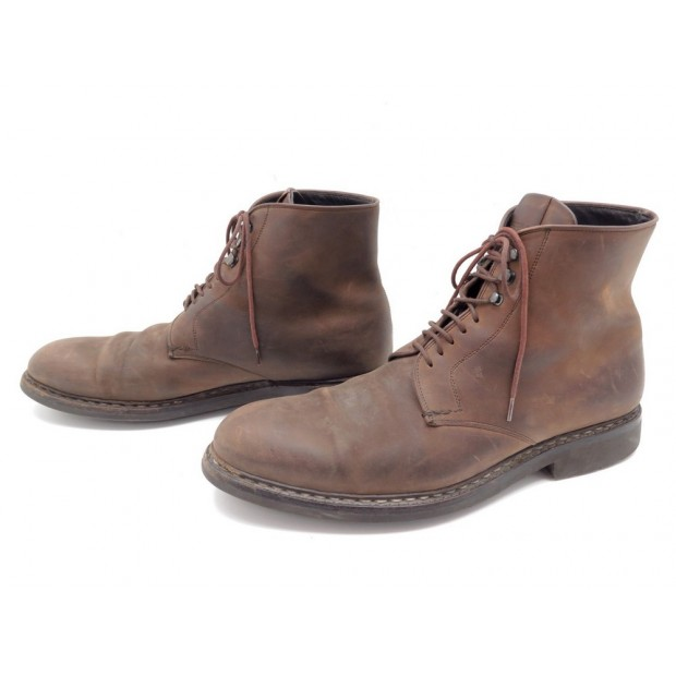 CHAUSSURES HESCHUNG BOTTILLONS 9 43 CUIR SUEDE GRAS AQUABUCK BOOTS A LACETS 549€