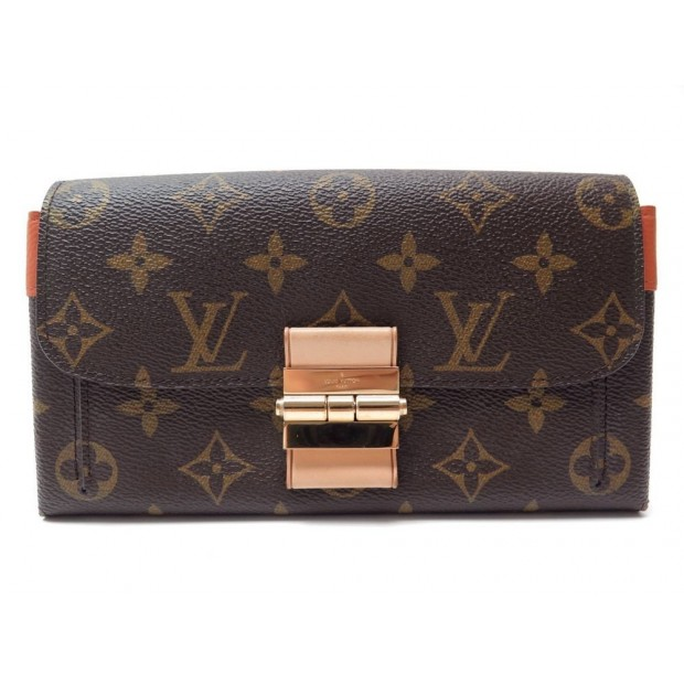 NEUF PORTEFEUILLE LOUIS VUITTON ELYSEE TOILE MONOGRAM MARRON ORANGE WALLET 1150€