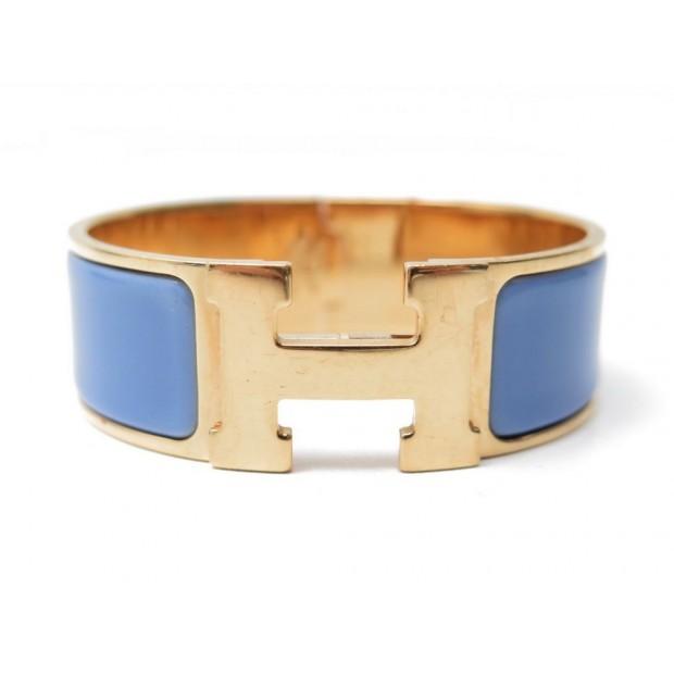 BRACELET HERMES CLIC CLAC H PM 16 CM 20 MM METAL DORE EMAIL BLEU GOLD BLUE 595€