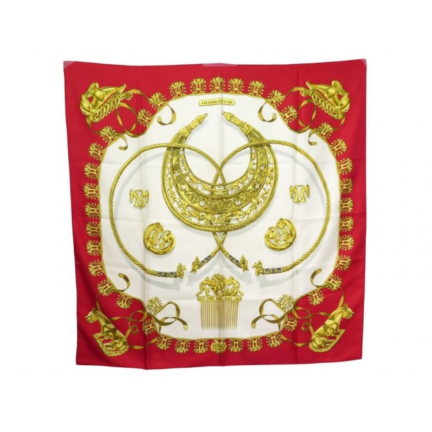 FOULARD HERMES LES CAVALIERS D'OR SOIE ROUGE RYBALTCHENKO CARRE SCARF 360€