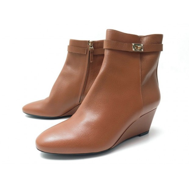 NEUF CHAUSSURES FENDI GOLDMINE 41 IT 42 FR BOTTINES COMPENSES CUIR BOOTS 890€