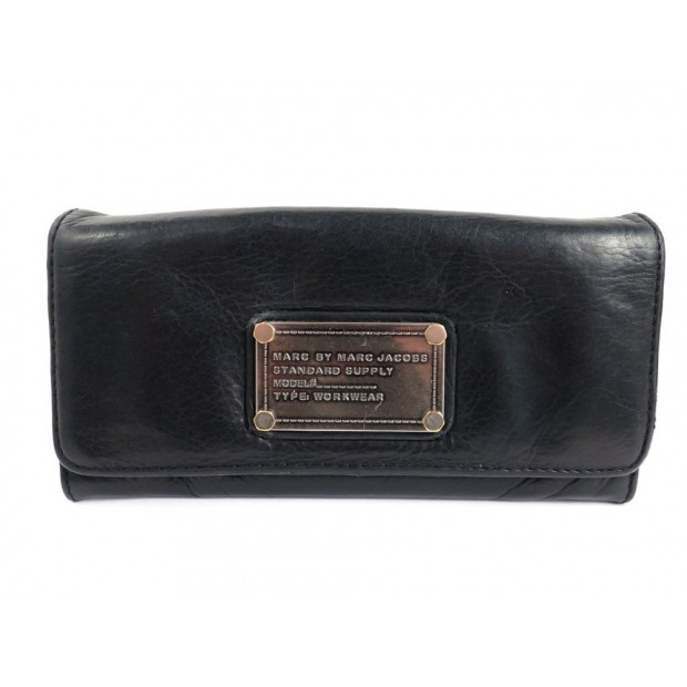PORTEFEUILLE MARC BY MARC JACOBS WORKWEAR EN CUIR NOIR WALLET BILLFOLD 220€