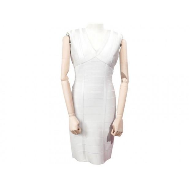 ROBE HERVE LEGER BANDAGE 42 44 L EN VISCOSE ECRU SCULTANTE SOIREE DRESS 1335€