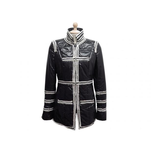 MANTEAU CHANEL BLOUSON IMPERMEABLE & FINITION TWEED P36675 38 M BLACK COAT 2700€