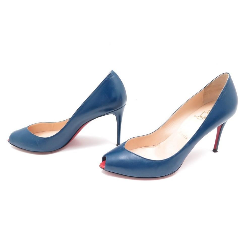 e2edfcdf639 chaussures christian louboutin escarpins 38 cuir bleu