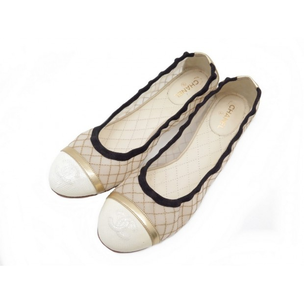 CHAUSSURES CHANEL LOGO CC BALLERINES 38.5 EN TOILE MATELASSEE QUITED SHOES 620€