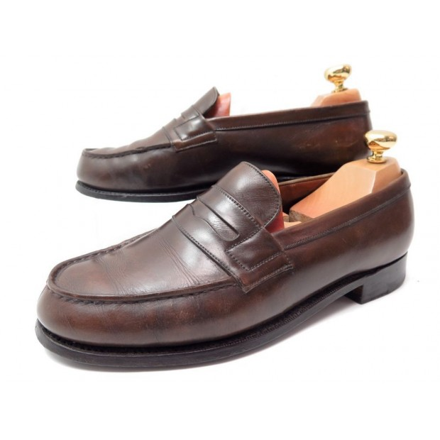 CHAUSSURES JM WESTON 180 5D 39 MOCASSINS CUIR MARRON PATINE LOAFERS SHOES 590€