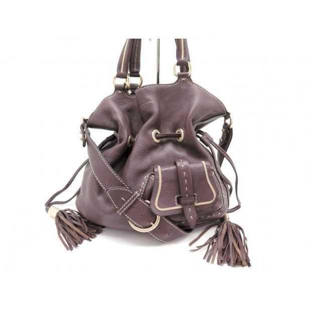 SAC A MAIN LANCEL PREMIER FLIRT BANDOULIERE EN CUIR GRAINE MARRON BAG PURSE 725€