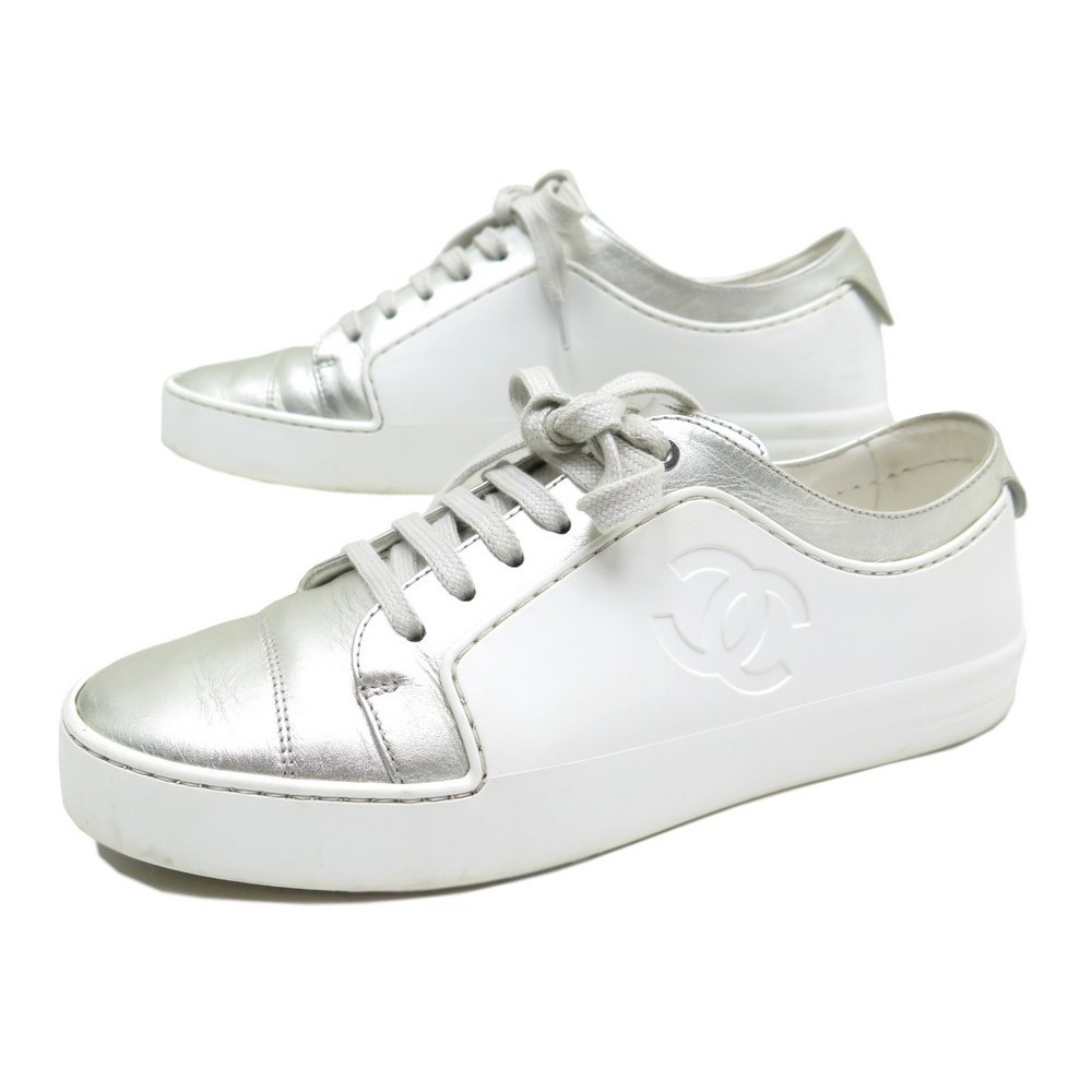 chaussures chanel tennis g32719 38 baskets cuir blanc ad7bf4049b80