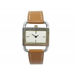 VINTAGE MONTRE HERMES ETRIER 26 MM QUARTZ METAL DORE & CUIR WATCH GOLD PLATED