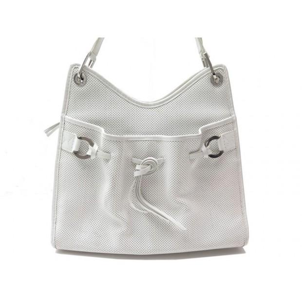 SAC A MAIN LANCEL CUIR PERFORE BLANC 33CM WHITE LEATHER HAND BAG PURSE 600€