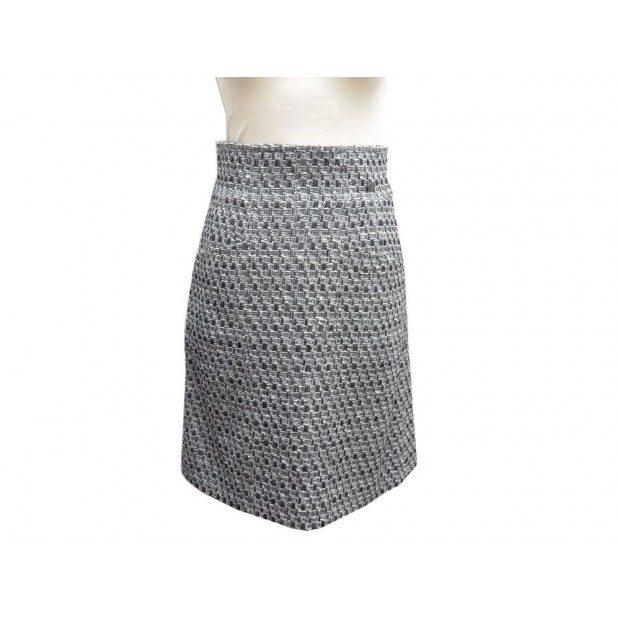 NEUF JUPE CHANEL P46624 TAILLE 38 M TWEED DE LAINE GRIS GRAY WOOOL SKIRT 1500€