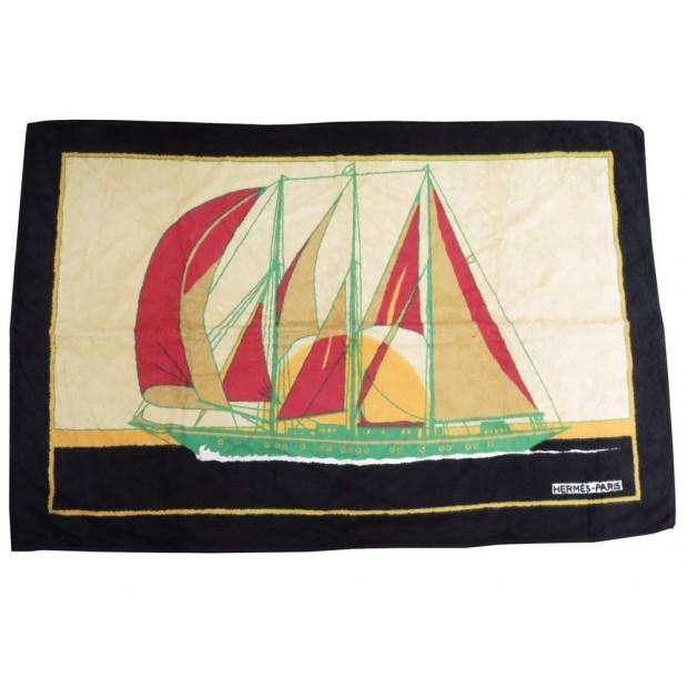 DRAP DE BAIN HERMES BATEAU SERVIETTE DE PLAGE 90 x 145 CM COTON NOIR TOWEL 420€