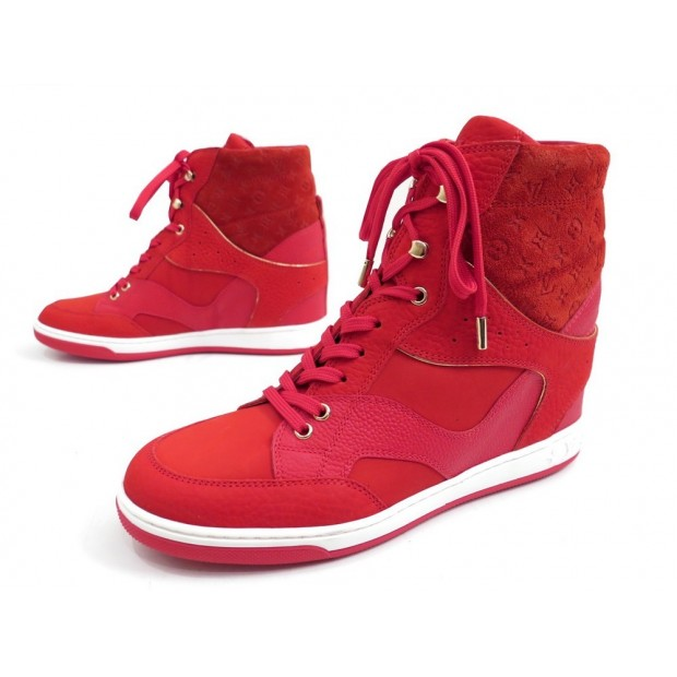 NEUF CHAUSSURES LOUIS VUITTON BASKETS MONTANTES 39.5 CLIFF TOP WEDGE BOOTS 790€